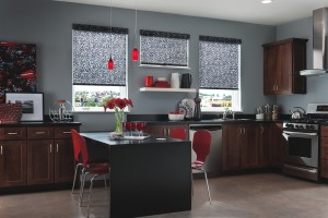 black roller shades installed in the kitchen window