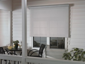 white window with white exterior roller shades