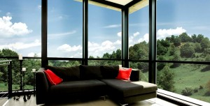 untinted glass walls of a living area overlooking a greenery