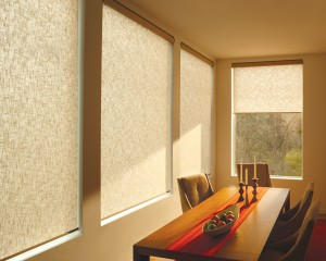 light brown cellular shades in a glass window in the kitchen
