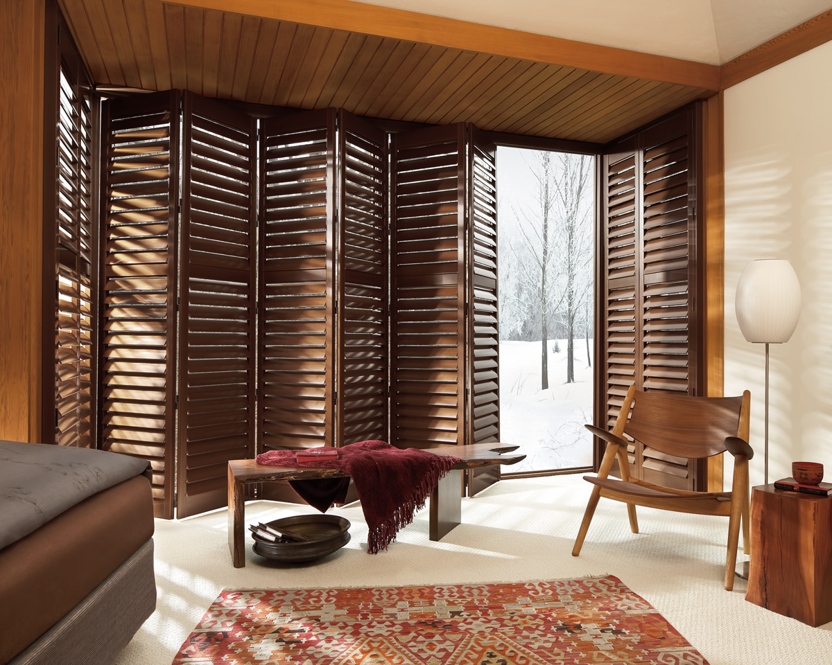 wooden window shutters as a folding door