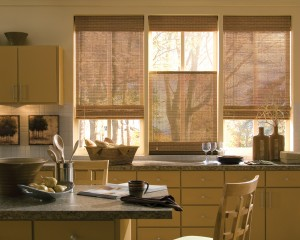 woven wood in the kitchen windows