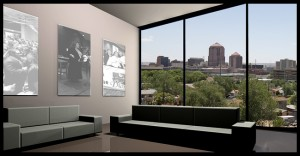 untinted glass windows of a living room in an urban district