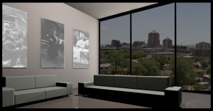 tinted glass windows of a living room