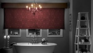 maroon curtained bathroom windows