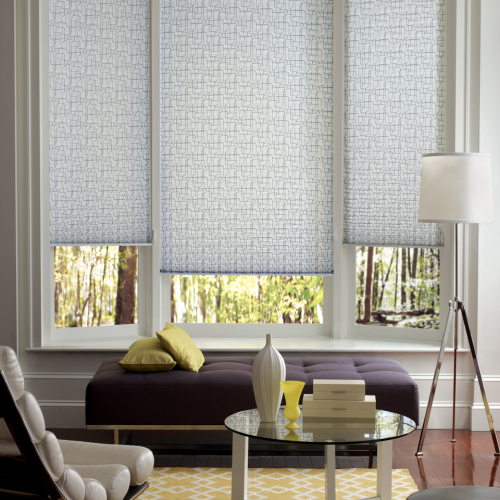 three window blinds installed in a window glass